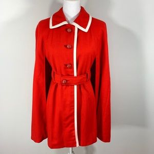 VTG 60s Lorendale Red Wool Cape Jacket